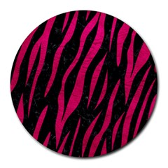 Skin3 Black Marble & Pink Leather (r) Round Mousepads by trendistuff