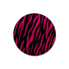 Skin3 Black Marble & Pink Leather (r) Rubber Coaster (round)  by trendistuff