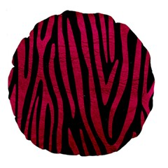 Skin4 Black Marble & Pink Leather Large 18  Premium Flano Round Cushions by trendistuff