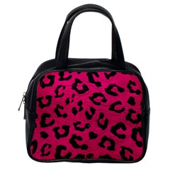 Skin5 Black Marble & Pink Leather (r) Classic Handbags (one Side) by trendistuff