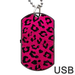 Skin5 Black Marble & Pink Leather (r) Dog Tag Usb Flash (one Side) by trendistuff