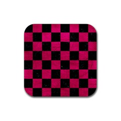 Square1 Black Marble & Pink Leather Rubber Coaster (square)  by trendistuff