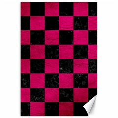 Square1 Black Marble & Pink Leather Canvas 20  X 30   by trendistuff