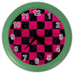 Square1 Black Marble & Pink Leather Color Wall Clocks by trendistuff