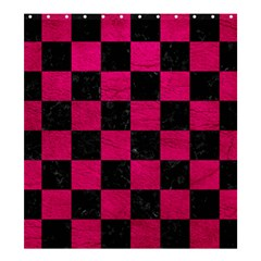 Square1 Black Marble & Pink Leather Shower Curtain 66  X 72  (large)  by trendistuff