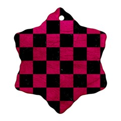 Square1 Black Marble & Pink Leather Ornament (snowflake) by trendistuff