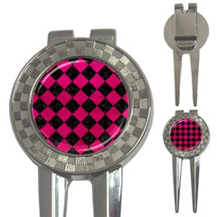 Square2 Black Marble & Pink Leather 3 In 1 Golf Divots by trendistuff