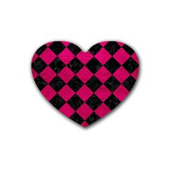 Square2 Black Marble & Pink Leather Rubber Coaster (heart)  by trendistuff
