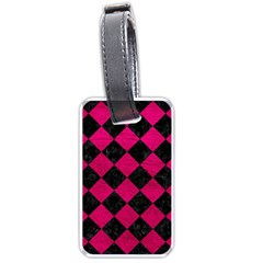 Square2 Black Marble & Pink Leather Luggage Tags (one Side)  by trendistuff