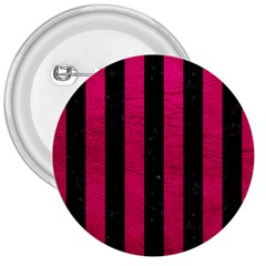 Stripes1 Black Marble & Pink Leather 3  Buttons by trendistuff