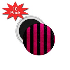 Stripes1 Black Marble & Pink Leather 1 75  Magnets (10 Pack)  by trendistuff
