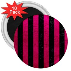 Stripes1 Black Marble & Pink Leather 3  Magnets (10 Pack)  by trendistuff