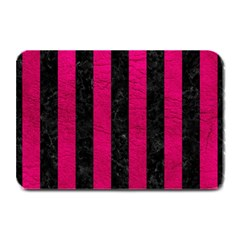 Stripes1 Black Marble & Pink Leather Plate Mats by trendistuff