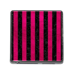 Stripes1 Black Marble & Pink Leather Memory Card Reader (square) by trendistuff