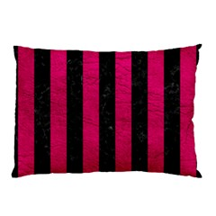 Stripes1 Black Marble & Pink Leather Pillow Case (two Sides) by trendistuff