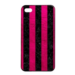 Stripes1 Black Marble & Pink Leather Apple Iphone 4/4s Seamless Case (black) by trendistuff