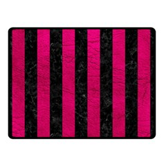 Stripes1 Black Marble & Pink Leather Double Sided Fleece Blanket (small)  by trendistuff