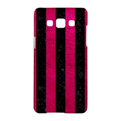 Stripes1 Black Marble & Pink Leather Samsung Galaxy A5 Hardshell Case  by trendistuff