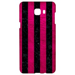 Stripes1 Black Marble & Pink Leather Samsung C9 Pro Hardshell Case  by trendistuff
