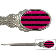 Stripes2 Black Marble & Pink Leather Letter Openers by trendistuff