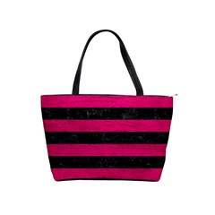 Stripes2 Black Marble & Pink Leather Shoulder Handbags by trendistuff