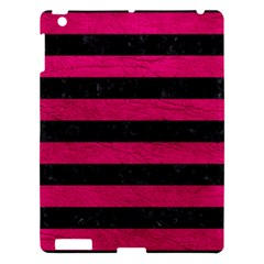 Stripes2 Black Marble & Pink Leather Apple Ipad 3/4 Hardshell Case by trendistuff