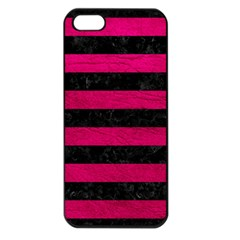 Stripes2 Black Marble & Pink Leather Apple Iphone 5 Seamless Case (black) by trendistuff