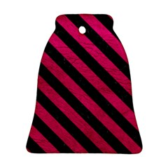 Stripes3 Black Marble & Pink Leather Bell Ornament (two Sides) by trendistuff
