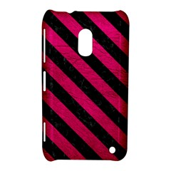 Stripes3 Black Marble & Pink Leather Nokia Lumia 620 by trendistuff