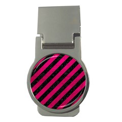 Stripes3 Black Marble & Pink Leather (r) Money Clips (round)  by trendistuff