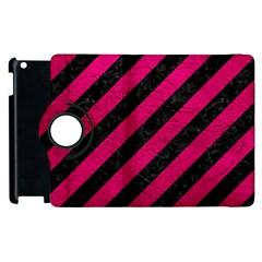 Stripes3 Black Marble & Pink Leather (r) Apple Ipad 3/4 Flip 360 Case by trendistuff