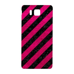Stripes3 Black Marble & Pink Leather (r) Samsung Galaxy Alpha Hardshell Back Case by trendistuff