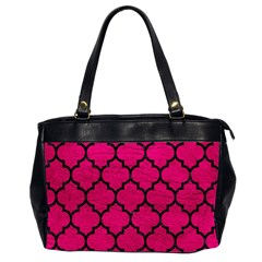 Tile1 Black Marble & Pink Leather Office Handbags (2 Sides)  by trendistuff