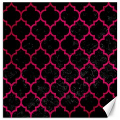 Tile1 Black Marble & Pink Leather (r) Canvas 20  X 20   by trendistuff
