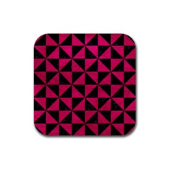 Triangle1 Black Marble & Pink Leather Rubber Coaster (square)  by trendistuff