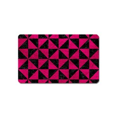 Triangle1 Black Marble & Pink Leather Magnet (name Card) by trendistuff