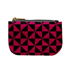 Triangle1 Black Marble & Pink Leather Mini Coin Purses by trendistuff
