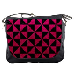 Triangle1 Black Marble & Pink Leather Messenger Bags by trendistuff