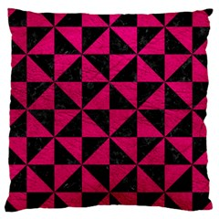 Triangle1 Black Marble & Pink Leather Large Cushion Case (two Sides) by trendistuff