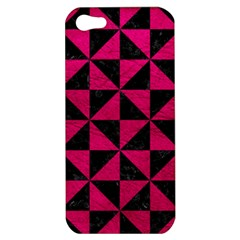 Triangle1 Black Marble & Pink Leather Apple Iphone 5 Hardshell Case by trendistuff