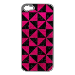 Triangle1 Black Marble & Pink Leather Apple Iphone 5 Case (silver) by trendistuff