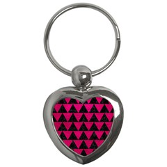 Triangle2 Black Marble & Pink Leather Key Chains (heart)  by trendistuff