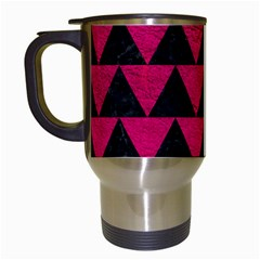 Triangle2 Black Marble & Pink Leather Travel Mugs (white) by trendistuff