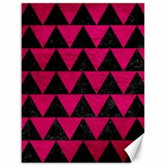 Triangle2 Black Marble & Pink Leather Canvas 12  X 16   by trendistuff
