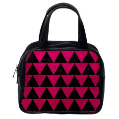Triangle2 Black Marble & Pink Leather Classic Handbags (one Side) by trendistuff