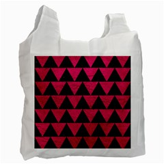 Triangle2 Black Marble & Pink Leather Recycle Bag (one Side) by trendistuff