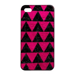 Triangle2 Black Marble & Pink Leather Apple Iphone 4/4s Seamless Case (black) by trendistuff