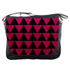 Triangle2 Black Marble & Pink Leather Messenger Bags by trendistuff