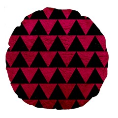 Triangle2 Black Marble & Pink Leather Large 18  Premium Round Cushions by trendistuff