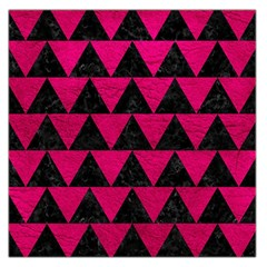 Triangle2 Black Marble & Pink Leather Large Satin Scarf (square) by trendistuff